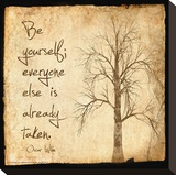 Be Yourself - Oscar Wilde Classic Quote Stretched Canvas Print by Jeanne Stevenson
