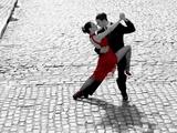 Couple dancing Tango on cobblestone road Print on Canvas