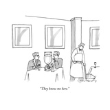 """They know me here."" - New Yorker Cartoon Premium Giclee Print by Michael Crawford"