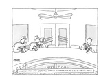 Two superheros Martini-Man and Beer-Man sitting nowhere near Girlie-Drink- - New Yorker Cartoon Premium Giclee Print by Jack Ziegler