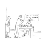 "An author sits at an book-signing-like event called ""Tell the Author your … - New Yorker Cartoon Premium Giclee Print by Liana Finck"