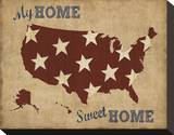My Home Sweet Home USA Map Stretched Canvas Print by  Sparx Studio