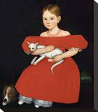 Girl in Red Dress with Cat and Dog, 1830-1835 Stretched Canvas Print by Ammi Phillips