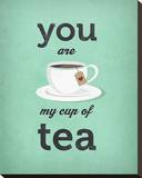 You Are My Cup of Tea (teal) Stretched Canvas Print by Amalia Lopez