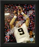 Drew Brees with the Vince Lombardi Trophy Super Bowl XLIV Posters