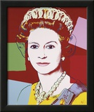Reigning Queens: Queen Elizabeth II of the United Kingdom, c.1985 (Dark Outline) Art by Andy Warhol