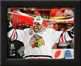 Dustin Byfuglien with Chicago Blackhawks Flag 2010 Stanley Cup Finals Posters