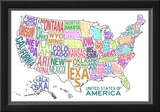 United States of America Stylized Text Map Colorful Prints