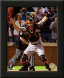 Buster Posey Celebrates Winning Game Five of the 2010 World Series Poster
