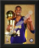 Kobe Bryant Game Five of the 2009 NBA Finals With Championship Trophy Print
