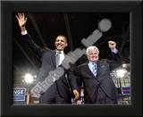 U.S. Senator Edward Kennedy & Senator Barack Obama at a 2008 Campaign Rally Prints