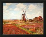 Tulip Fields with the Rijnsburg Windmill ポスター : クロード・モネ