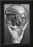 Hands with Sphere Art by M. C. Escher
