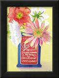 Flowers in a Red and Blue Can Prints by Robbin Gourley