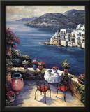 Mediterranean Vistas w Black Chairs Prints by John Zaccheo