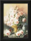 Roses in a Gold Vase Print by T. C. Chiu