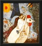 Les Fiancees de la Tour Eiffel Print by Marc Chagall