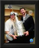 Sidney Crosby & Mario Lemieux Game 7 - 2008-09 NHL Stanley Cup Finals With Trophy Posters