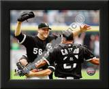Mark Buehrle '09 Perfect Game celebration w/ Castro Posters