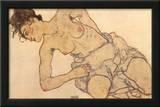 Knielende Halfnaakte Prints by Egon Schiele