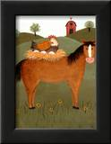 Horse with Hen Posters by Valerie Wenk