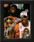 Kevin Garnett & Paul Pierce, Game Six of the 2008 NBA Finals With Trophies Art