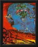 Pareja sobre fondo rojo Póster por Marc Chagall
