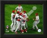 The Philadelphia Phillies celebrating Game Five of the 2008 NLCS Print