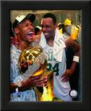 Ray Allen & Paul Pierce, Game Six of the 2008 NBA Finals With Trophy Posters