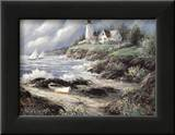 Lighthouse and Boat Art by George Bjorkland
