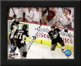 Sidney Crosby, Evgeni Malkin, & Marian Hossa Celebrate Crosby's 2nd Goal Game 3 Stanley Cup Finals Poster