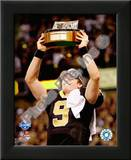 Drew Brees 2009 With NFC Championship Trophy Print