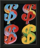 Four Dollar Signs, c.1982 (blue, red, orange, yellow) Prints by Andy Warhol