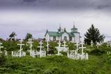 Russian Cemetery and Orthodox Church in Ninilchik, Kenai Peninsula, Alaska Photographic Print by Françoise Gaujour