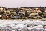 Village of Ilulissat as Seen from the Pack Ice, Disko Bay, Greenland Photographic Print by Françoise Gaujour