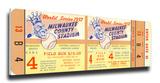 1957 World Series Mega Ticket - Milwaukee Braves Stretched Canvas Print