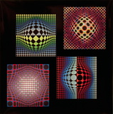 Vega-Noir, Vega-WA-2, Vega-WA-3, and Ond-Fire Collectable Print by Victor Vasarely