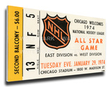 1974 NHL All-Star Game Mega Ticket, Blackhawks Host - MVP Garry Unger Stretched Canvas Print
