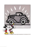 Mickey and Minie Looking at a Rolls Royce Print