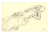 Lying Nude,Crayon Collectable Print by Edgar Degas