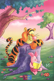 Tigger and Piglet Reading at Sunset Posters