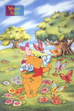Winnie the Pooh and Piglet with Butterflies Poster