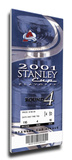 2001 NHL Stanley Cup Mega Ticket - Colorado Avalanche Stretched Canvas Print