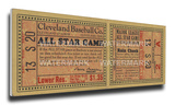 1935 MLB All-Star Game Mega Ticket - Indians Host - Cleveland Stadium Stretched Canvas Print