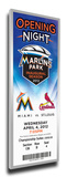 Miami Marlins 2012 Opening Night / First Game at Marlins Park Mega Ticket Stretched Canvas Print
