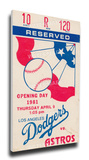 Los Angeles Dodgers 1981 Opening Day / Fernando Valenzuela First Career Start Mega Ticket Stretched Canvas Print