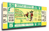 1972 World Series Mega Ticket - Oakland Athletics Stretched Canvas Print