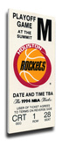 1994 NBA Finals Mega Ticket - Houston Rockets Stretched Canvas Print