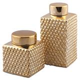 Amber Gold Mettalic Lidded Jar Set Home Accessories