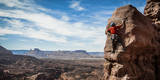 A Young Male Climber on the Third Pitch of the Classic Tower Climb, Fisher Towers, Moab, Utah Photographic Print by Dan Holz